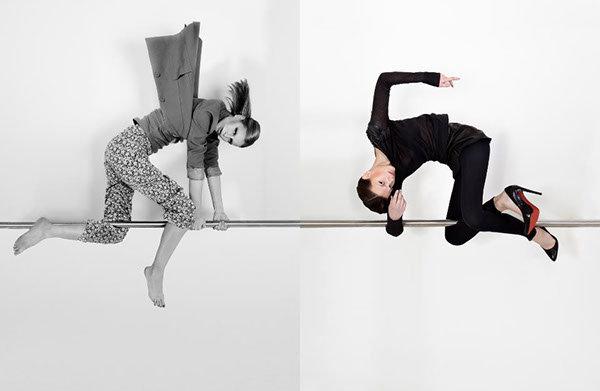 Modefotografie mal anders, Modelle an Stange hängend fotografiert
