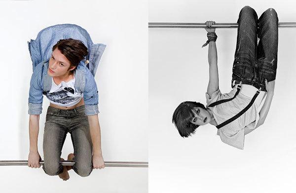 Mode shooting der anderen Art, Modelle hängend an einer Stange