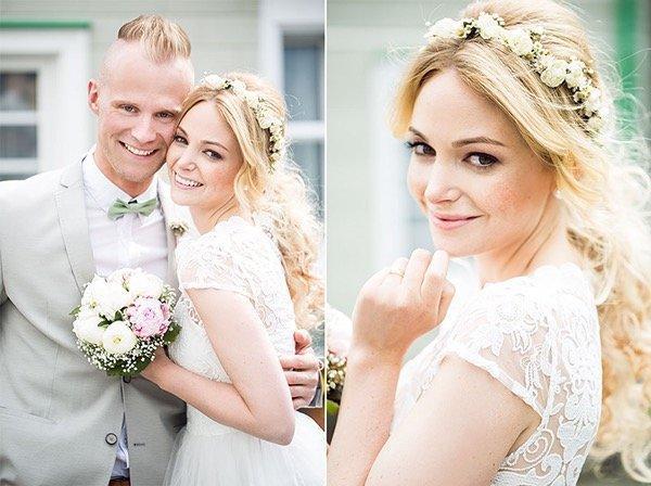 Braut Styling, natürliches Make up romantsiche Welllen