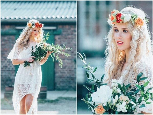 Hippie Braut, romantisch geschminkt mit Blumenkranz und wildem Strauß