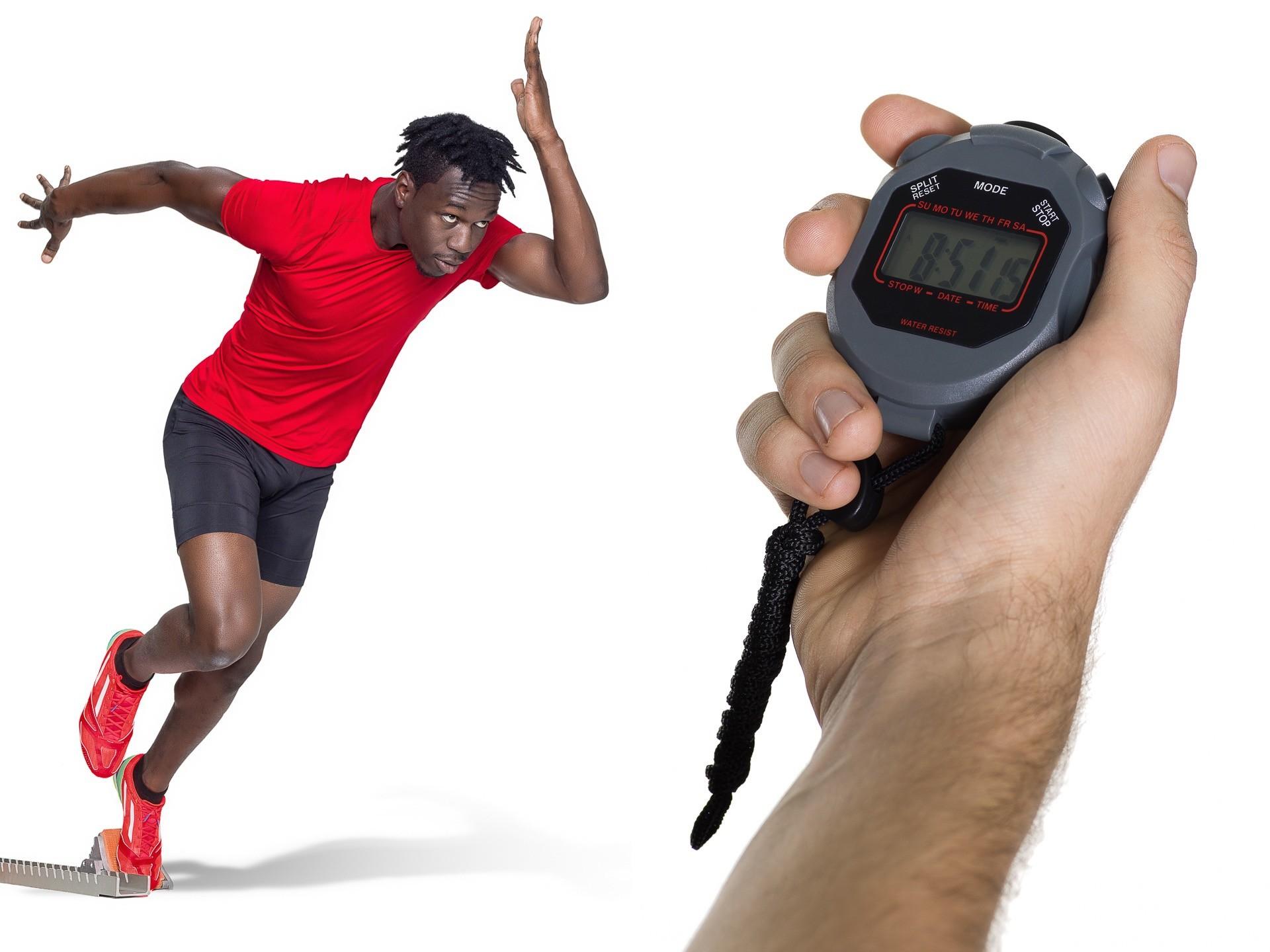 Sportler make up, face and body, dunkelhäutiger Sprinter