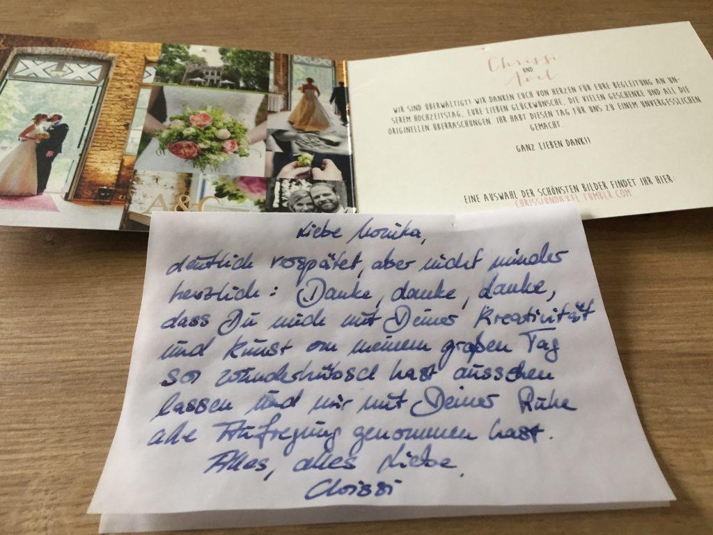 Worte des Dankes für Brautfrisur und Brautmake up in Köln