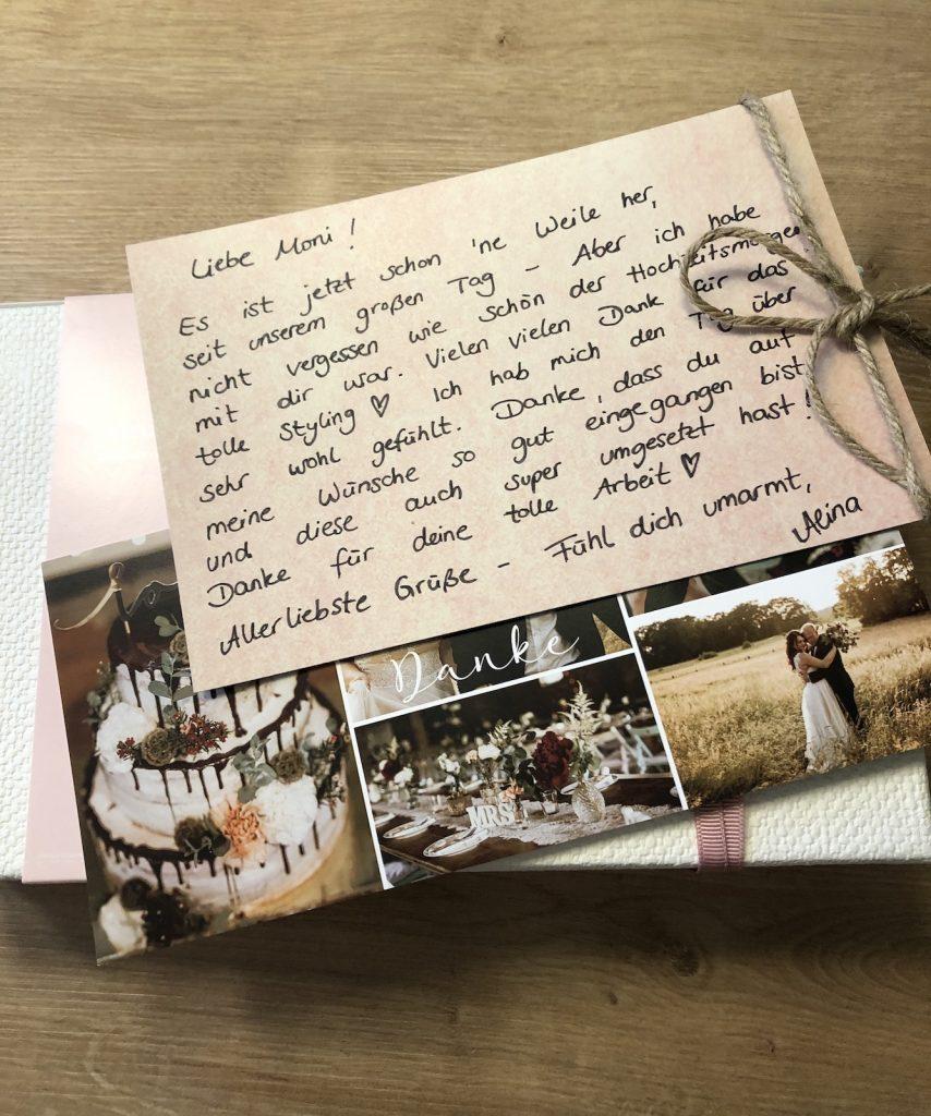 so schöne Dankesworte für ein Brautstyling