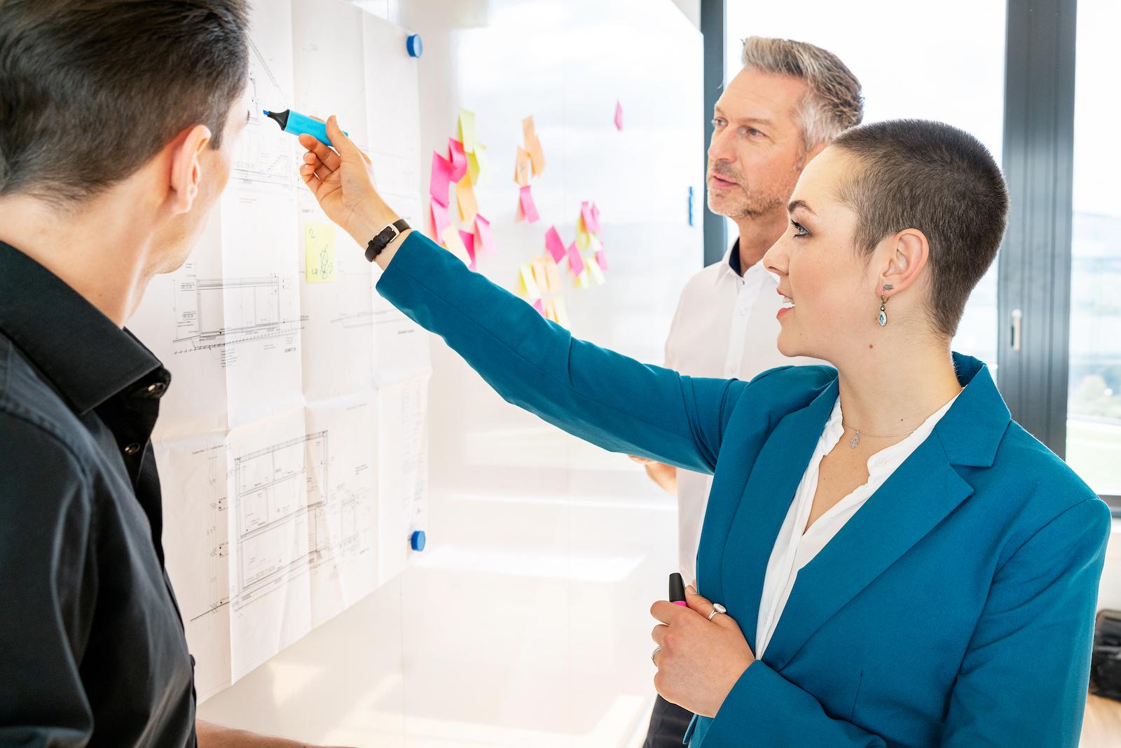 business styling dreier Gruppe am Whiteboard